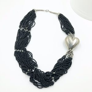 Womens Beaded Heart Silver Necklace